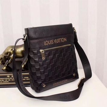 Lv Louis Vuitton Men Leather Inclined Shoulder Bag