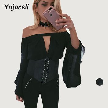Yojoceli vintage elastic strentch lace up cummerbund belt women wide corset belt 2017 club bandage PU waist belt accessories