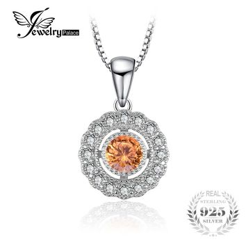 JewelryPalace Vintage 1 ct Round Created Orange Sapphire 925 Sterling Silver Chain Necklaces Pendants For Women Wedding Jewelry
