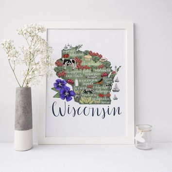 Wisconsin State Map Art Print