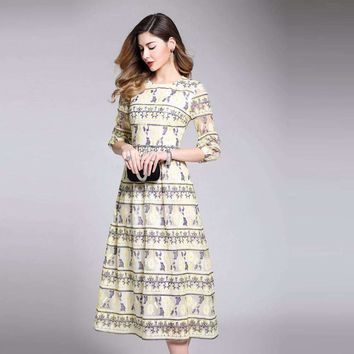 Womens Three-Quarter-Sleeve O_Neck Slim mid-calf-length Dress