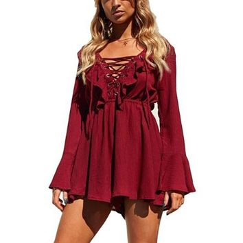 [16243] Lace-up Elastic Waist Long Sleeve Romper
