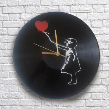 Banksy Girl with baloon painted vinyl record clock