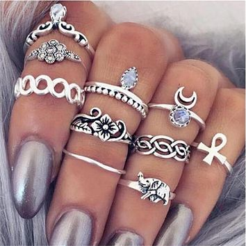 Itenice 10pcs/lot trendy design fashion jewelry casual boho style water drop moon flower Elephant crystal rings for women