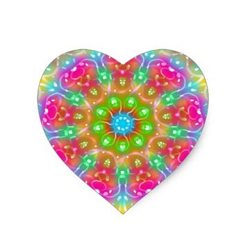 Pink Paradise Mandala Design Heart Sticker