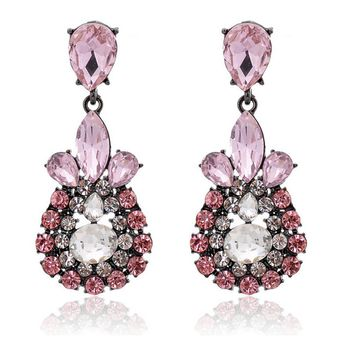 Casual Faux Crystal Inlay Waterdrop Drop Earring