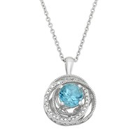 Simply Vera Vera Wang Blue Topaz & Diamond Accent Sterling Silver Twist Pendant Necklace