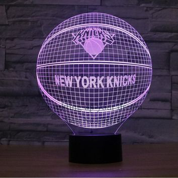 3D Illusion New York Knicks LED Table Night Light USB Cable Operated Desk Lamp lava lamp Valentine's Day Decoration promotion