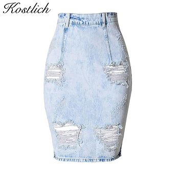 Kostlich Back Split Sexy Women Jean Skirt 2017 New Holes Ripped Jeans Skirts Womens Denim Skirts Plus Size Bodycon Jeans Skirt