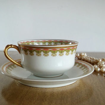 Haviland Limoges Teacup Gold Scroll, Vintage Limoges Haviland Teacup and Saucer