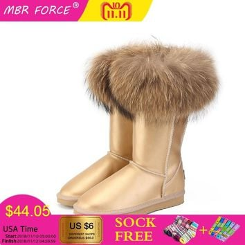 MBR FORCE NEW Fashion  Boots Women High Boots Women Snow Boots 100% Genuine Waterproof Winter Shoes Natural Fox Fur Leather
