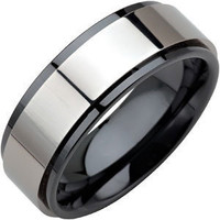 Black Ceramic Couture Ridged Band / Ring with Dura Tungsten Inlay Non Allergic