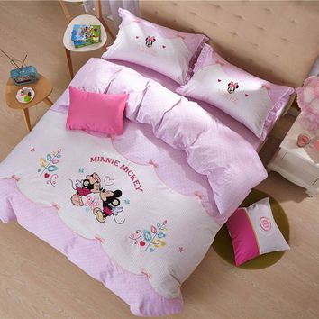 Mickey Minnie Mouse Printed Comforter Bedding Set Egyptian Cotton Woven 600TC Applique Embroidery Twin Full Queen Size Polka Dot