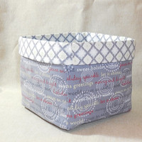 Pretty Gray Christmas Themed Fabric Basket