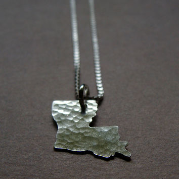 Tiny Louisiana State Necklace