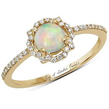 14K Yellow Gold .51 Carat Genuine Ethiopian Opal and White Diamond Ring
