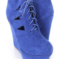 Royal Blue Cut Out Lace Up Platform Bootie Wedges Faux Suede