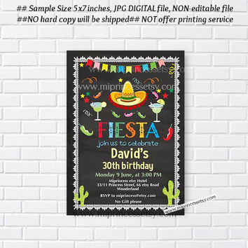 Mexican Fiesta Birthday invitation, Fiesta Party Birthday Invitation for any age, Whimsical design Colorful Festive birthday - card 687