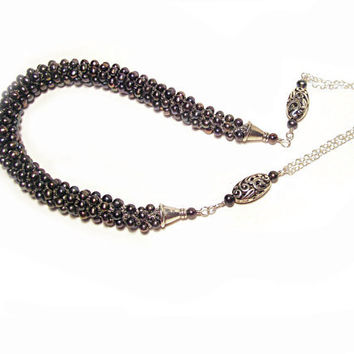 Black Pearl necklace Statement necklace Peacock pearl necklace on chain Crochet necklace Israel art