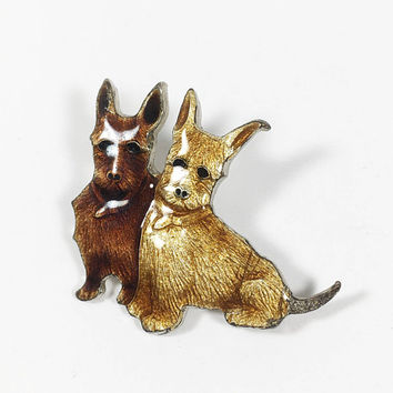 Enamel Twin Terriers Pin, Two Brown Dogs, Doggie Brooch, Gift for Dog Lover, Canine Jewelry