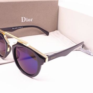 Dior Round Glasses Mirrored Flat Lenses Street Fashion Metal Frame Women Sunglasses [2974244679]