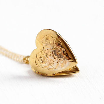 Vintage Heart Locket - 14k Gold Filled Necklace Retro Dainty Petite 1960s - Sweetheart Pendant Romantic Charm Childs Jewelry Signed A&Z Co