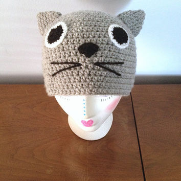 ALL SIZES Crochet Stew the Cat Hat - Adult Animal Hats - Character Beanie - Crochet Cat - Cat Lover - Kawaii Cat Beanie - Kids Winter Hats