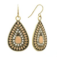 Mudd Simulated Crystal Teardrop Earrings (Pink)