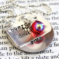 """BOB MARLEY Quote """"overcome the devils, with a thing called love"""" Musician, Hippie, Boho Inspired Sterling Silver, Hand Stamped Necklace"""