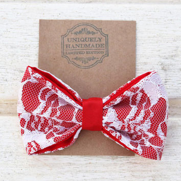 Red Valentine Bow, White Lace Bow, Red Lace Bow, Red Hair Bow, Valentines Gift, Baby Girl Valentines Outfit Accessory, Valentines Baby Girl