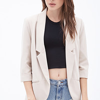 FOREVER 21 Classic Woven Blazer Taupe