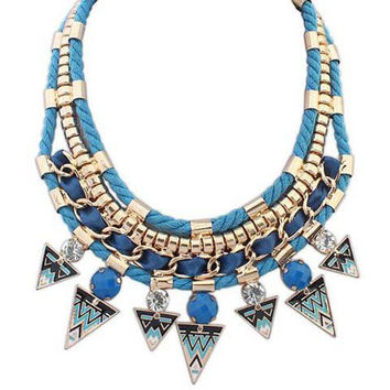 Blue Triangle Statement Necklace