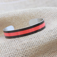 Custom Made Firefighter Thin Red Line Cuff Bracelet ~ First Responders Bracelet ~ Customize Your Colors ~ Firefighter Gift ~ Fire Wife Gift