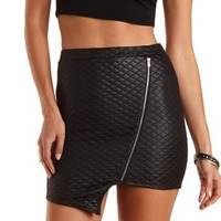 Quilted Asymmetrical Mini Skirt by Charlotte Russe - Black