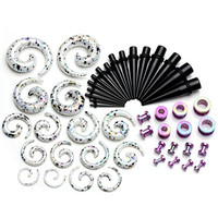 "PiercingJ 48 Pieces Acrylic Gauge Kit Spiral Tapers Tunnels and Plugs 12G-1/2"" Ear Stretching Starter - 24 Pairs"