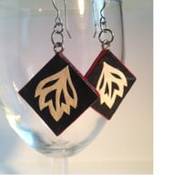 Black Diamond Hanji Paper Earrings Dangle Leaf Design Black Red White Hypoallergenic hooks Lightweight Ear rings