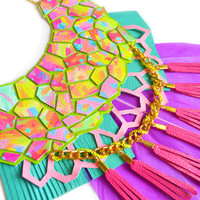 Neon Statement Necklace, Purple Feather Bib Tassel Necklace, Rainbow Hexagon Geometric Necklace | Boo and Boo Factory - Handmade Leather Jewelry