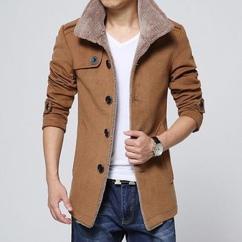 2015 Winter Fashion Men's Lambs Wool Lining Jacket Coat , Male Thick Warm Jacket Outerwear Male Slim Fit Trench Coat