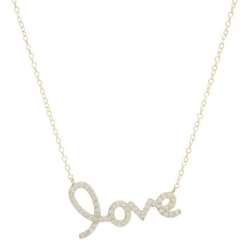 "Gold Over Sterling Silver CZ Cursive ""LOVE ""Necklace"