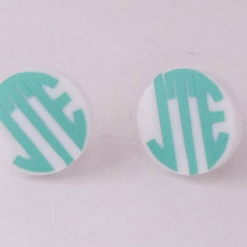 "16mm White Post or 1"" Clear Dangle Acrylic Earrings, Acrylic Jewelry, Laser cut, monogram, post dangle earrings custom personalized"