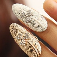 Lucky Flower Rhinestone Nail Fashion Rings (Set Of Gold+Silver)