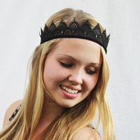 Black Lace Crown - Tiara. Birthday Crown, Black Queen, Goddess, Goth, Princess, Crown, Lace Headband, Crown