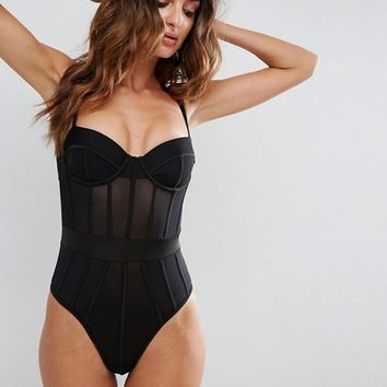 ASOS Mindy Moulded Underwire Corset Mesh Body at asos.com