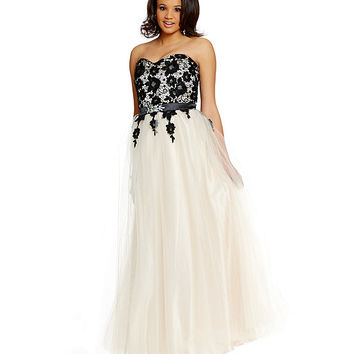 Masquerade Plus Strapless Lace Overlay Bodice Ball Gown | Dillards