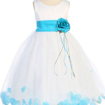 Aqua Flower Girls Satin & Tulle Petal Dress w. Organza Sash 2T-14