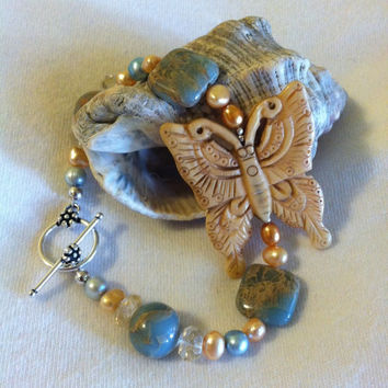 Tan Carved Bone Butterfly Bracelet Aqua Terra Jasper Yellow Citrine and Pearl Hand Made Beaded Gemstone Bohemian Style Jewelry Gift For Her