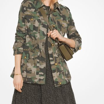 Studded Camouflage Cotton-Poplin Jacket | Michael Kors