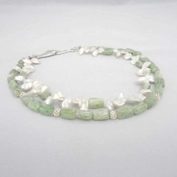 Green Kyanite and Pearls Necklace, Double Strand Necklace , Green and White