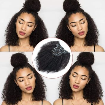 Afro Kinkys Curly Clip Ins Brazilian Virgin Hair Extensions Big Thick Double Weft Real Remy Hair for Black Women 7 Pieces 120g 12 Inch