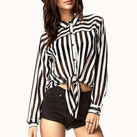 Front-Tie Striped Shirt | FOREVER 21 - 2041578685
